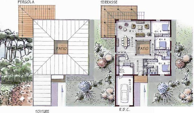 plan maison plain pied bois patio soleo 146                              …