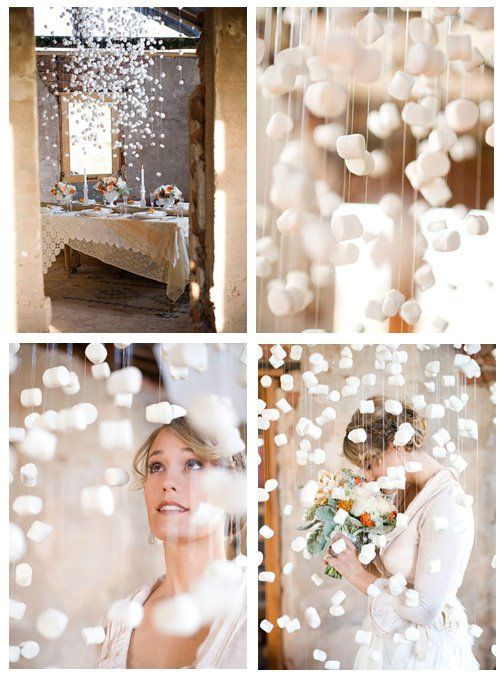 Marshmallow Wedding Decor...this looks really cool, but I'm not sure what it'd be like outside of artsy photos