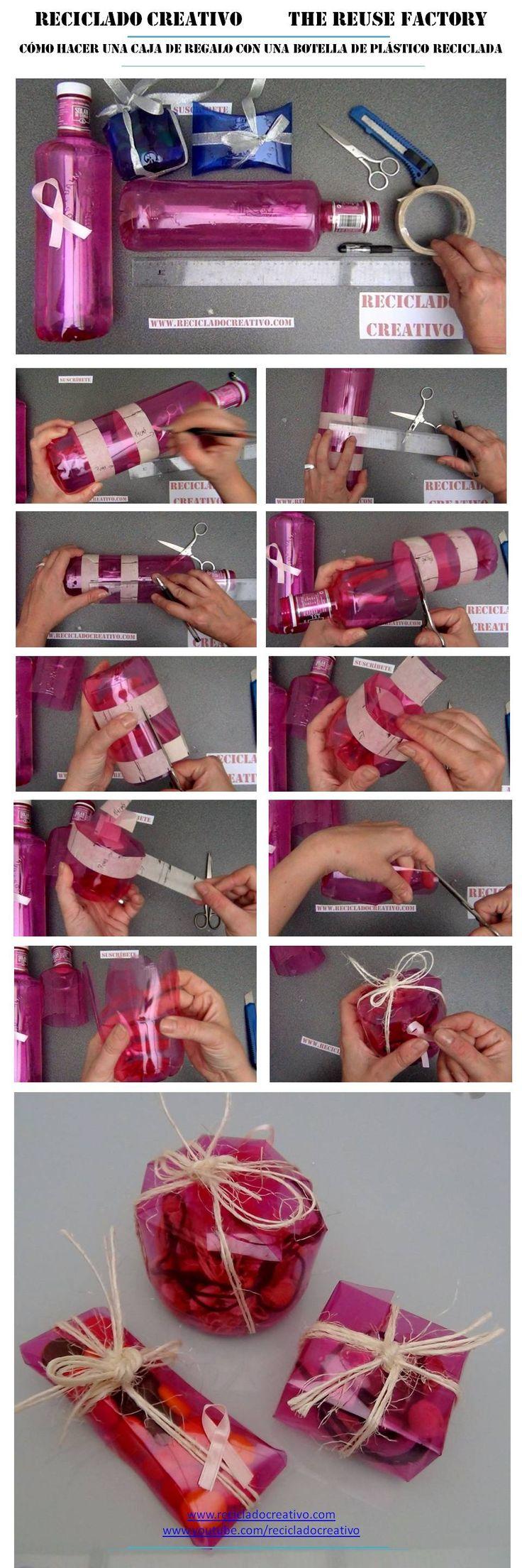 Cómo realizar una caja de regalo o bombonera reciclando la base de una botella de plástico   #gotasdesolidaridad contra el cáncer de mama #solandecabras #solidaridad