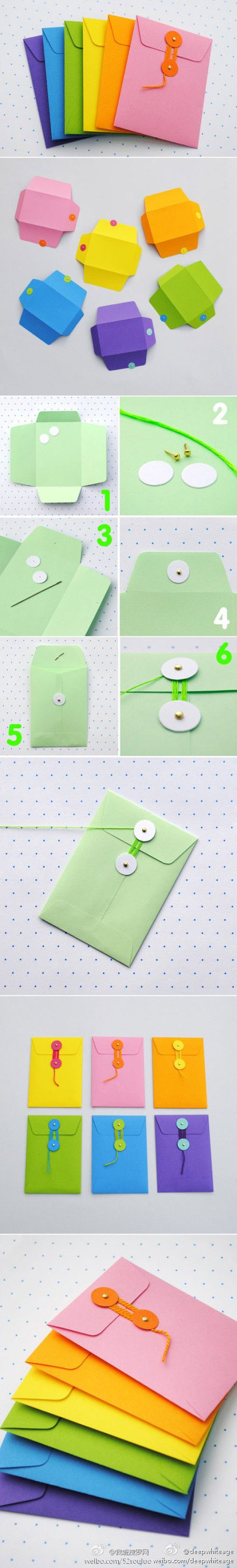 DIY string tie envelopes. Tutorial here: http://www.minieco.co.uk/diy-string-tie-envelopes/