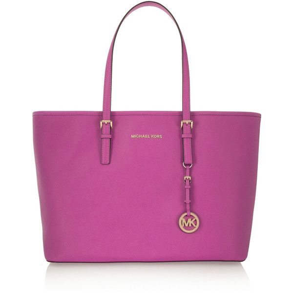 MICHAEL Michael Kors Jet Set Travel textured-leather tote (5 805 UAH) ❤ liked on Polyvore featuring bags, handbags, tote bags, pink, travel totes, michael michael kors handbags, ipad purse, pink purse and travel tote bags