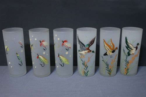 6-Frosted-Tom-Collins-Glasses-Ducks-Fishing-Lure-Handpainted-Mid-Century-1950s