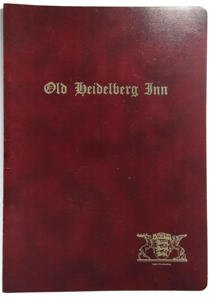 1960 S Original Menu Old Heidelberg Inn German Restaurant
