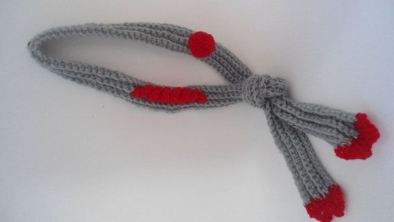 Grey Scarf Crochet necklace Scarf Necklace by CRAZYBOOM on Etsy