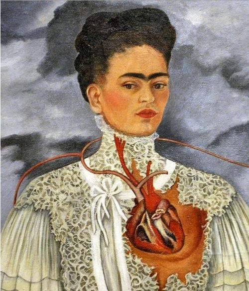 frida kahlo. it is Kahlo's self portrait. she demonstrate her heart on the left side to show her sorrows because she faced many difficulties in the young age which influenced her art work.
