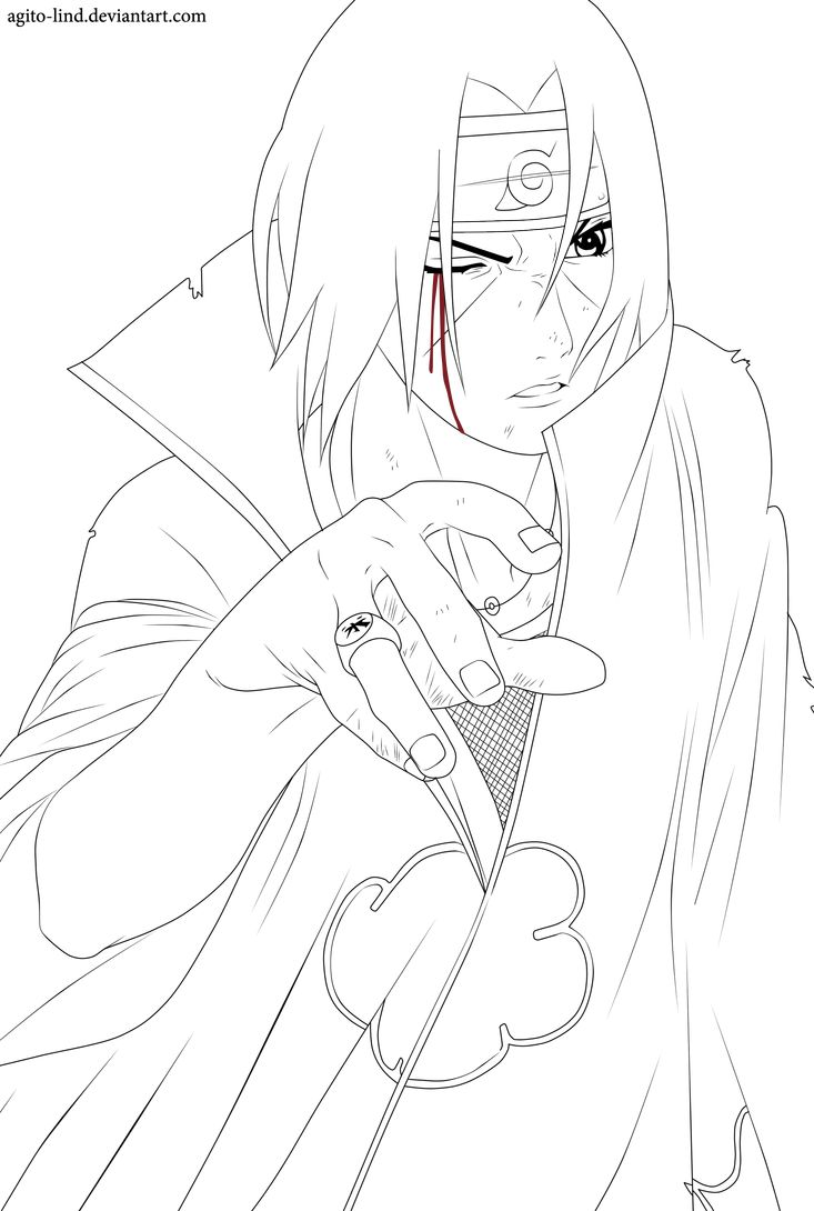 Uchiha Itachi Lineart By Aagito Naruto Uzumaki Art Naruto Painting Itachi Uchiha Art