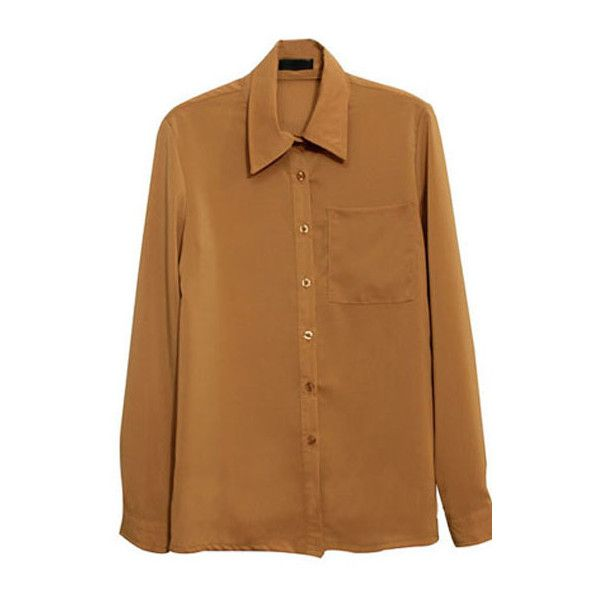 Brooch Detailed Camel Shirt (1.705 RUB) ❤ liked on Polyvore featuring tops, long sleeve tops, chiffon shirt, brown long sleeve shirt, extra long sleeve shirts and brown top