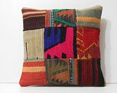 wool pillow cover 18x18 decorative throw pillow contemporary pillow colourful cushion throw pillow cases patchwork fabric kilim pillow 16746