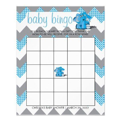 Blue and Gray Chevron Elephant Baby Shower Bingo Flyer - baby shower ideas party babies newborn gifts