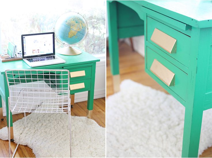 Revamped Green and Gold Desk