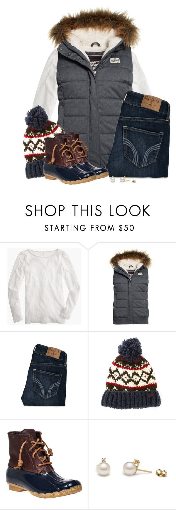 """Fur hooded vest, Nordic beanie & duck boots"" by steffiestaffie ❤ liked on Polyvore featuring J.Crew, Superdry, Hollister Co., Barbour and Sperry Top-Sider"