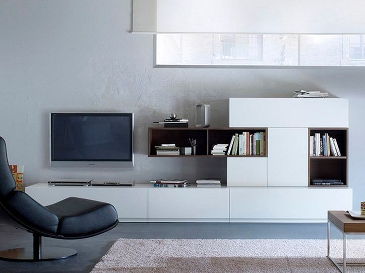 Fascinating White Living Room Design with Lacquered TV Wall System VERSO BY TREKU - Use J/K to navigate to previous and next images