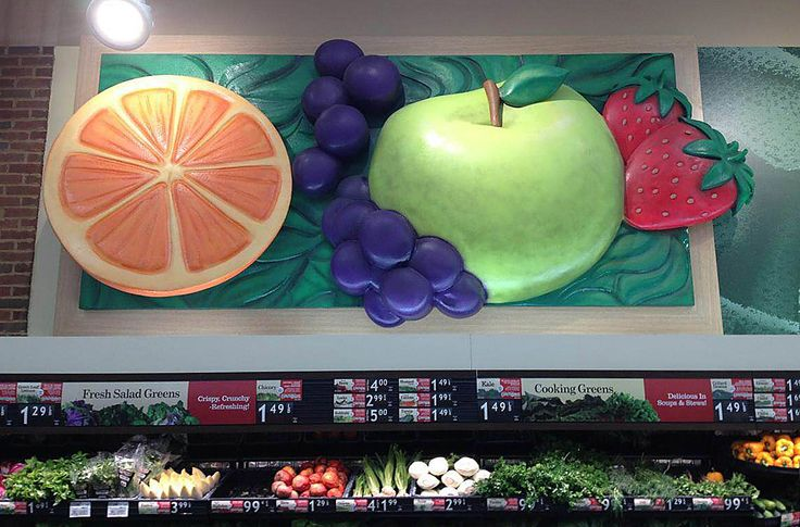 Produce Sculptures for Shoprite. Apples, grapes, avocado, tomato, blueberries, oranges, fruits and veggies, produce.