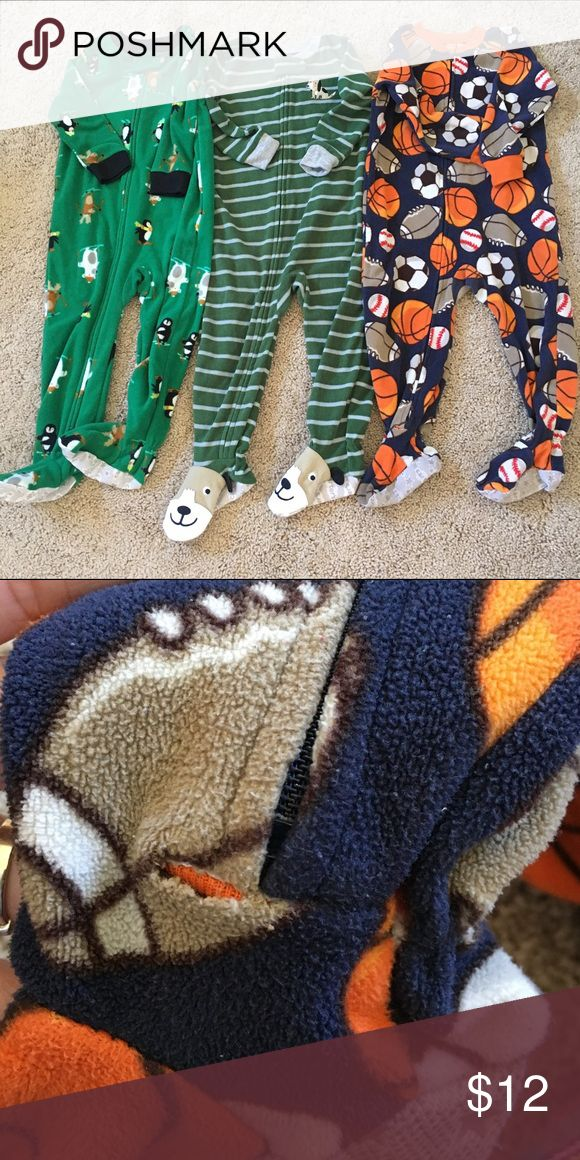 Carter's Lot of 3 Footies All 3 footies included. One footie with ball print has a tiny hole but not noticeable. Otherwise, all in great used condition. Size 2T. Carter's One Pieces Footies