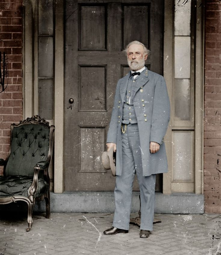 Colorized version of a photograph of Robert E Lee, taken shortly after the Confederate surrender that ended the American Civil War. http://simon-rose.com/books/etc/historical-background/