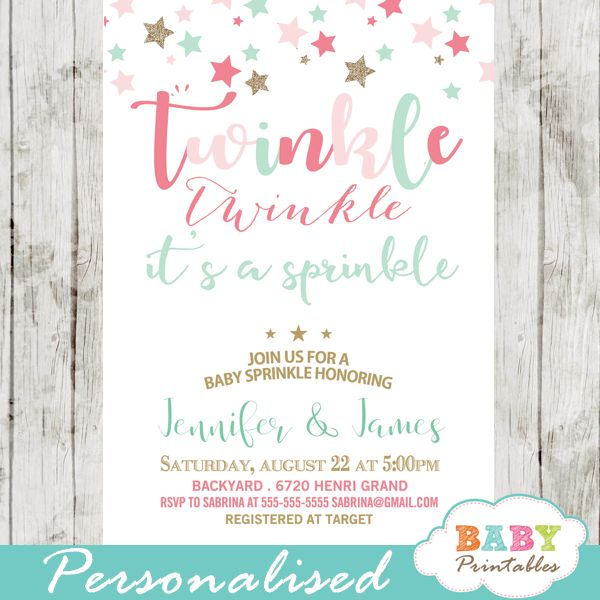 Twinkle Twinkle Baby Sprinkle Invitations featuring artsy calligraphy in pink and turquoise accents against a white backdrop decorated with multi-colored stars. Perfect for a Twinkle Twinkle Baby Sprinkle themed event.
