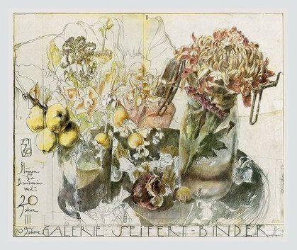 Horst Janssen Blumen Seifert-Binder handsigniert Poster Kunstdruck Bild im Alu Rahmen in Silber Natur 59x71cm