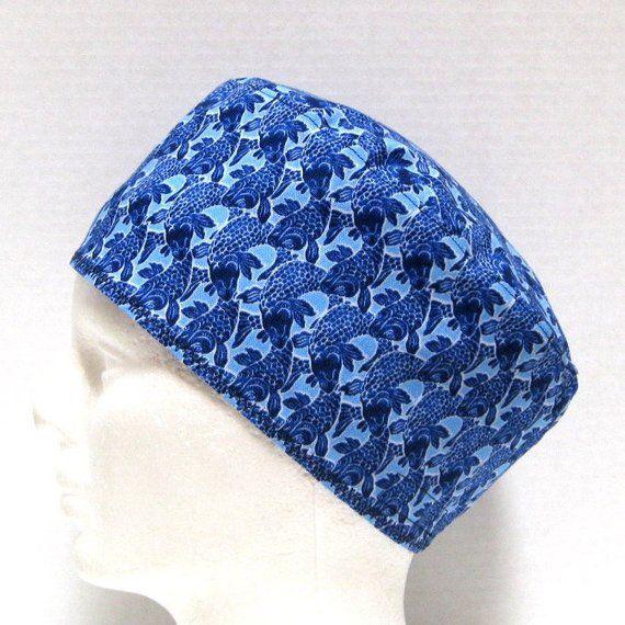 Fish print scrub cap