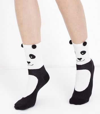 super cute panda socks! White and Black Pom Pom Ear Panda Socks #panda #socks #ad