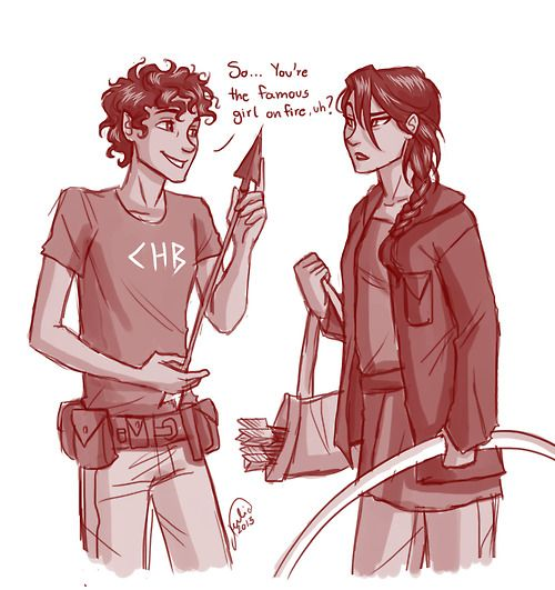 Leo valdez and katniss everdeen. Son of Hephaestus and girl on fire (his flames are real lol) heroes of olympus meets the hunger games