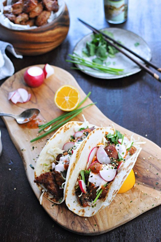 Coated in mochiko flour and fried, these delicious chicken-filled tacos with addictive umebashi mayo are crispy, tender and will have you dreaming of Maui.