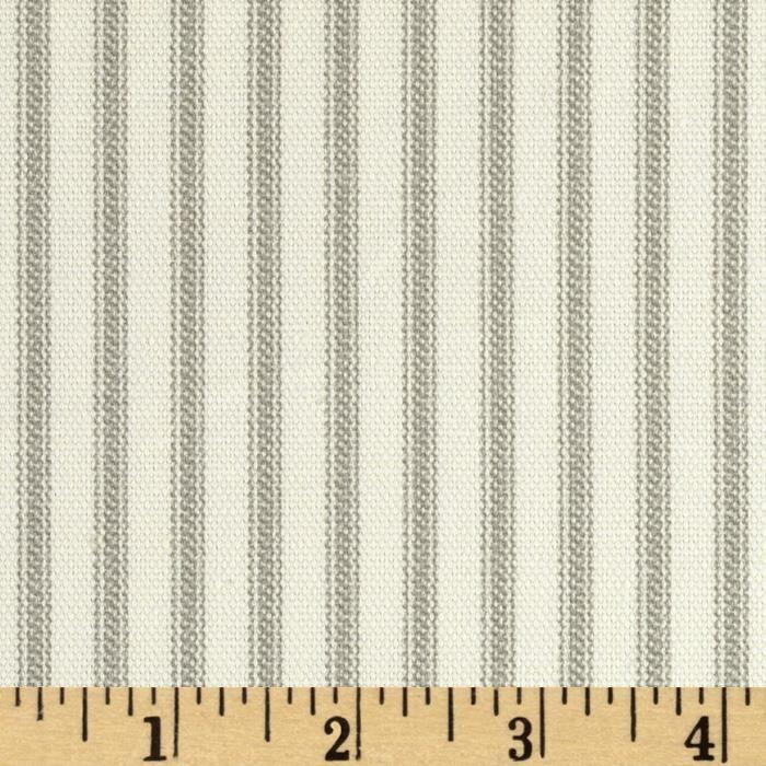 Vertical Ticking Stripe Ivory/Grey