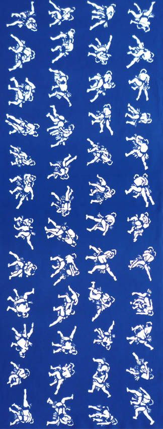 """Sumo motif Tenugui.  Motif is a 48 different """"Kimarite"""", a winning technique, in a sumo bout.  Each technique is specially named, such as """"Tatakikomi"""", """"Tsukiotoshi"""", """"Okuridashi"""" and """"Kotenage"""".  Chusen (注染) dyeing tenugui which is reversible (the same patterns appear both on front and reverse sides).   Made in Japan.  Cotton 100%"""