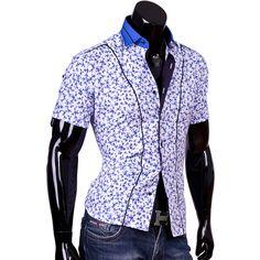 Рубашка Louis Fabel приталенная цвет белый в цветах