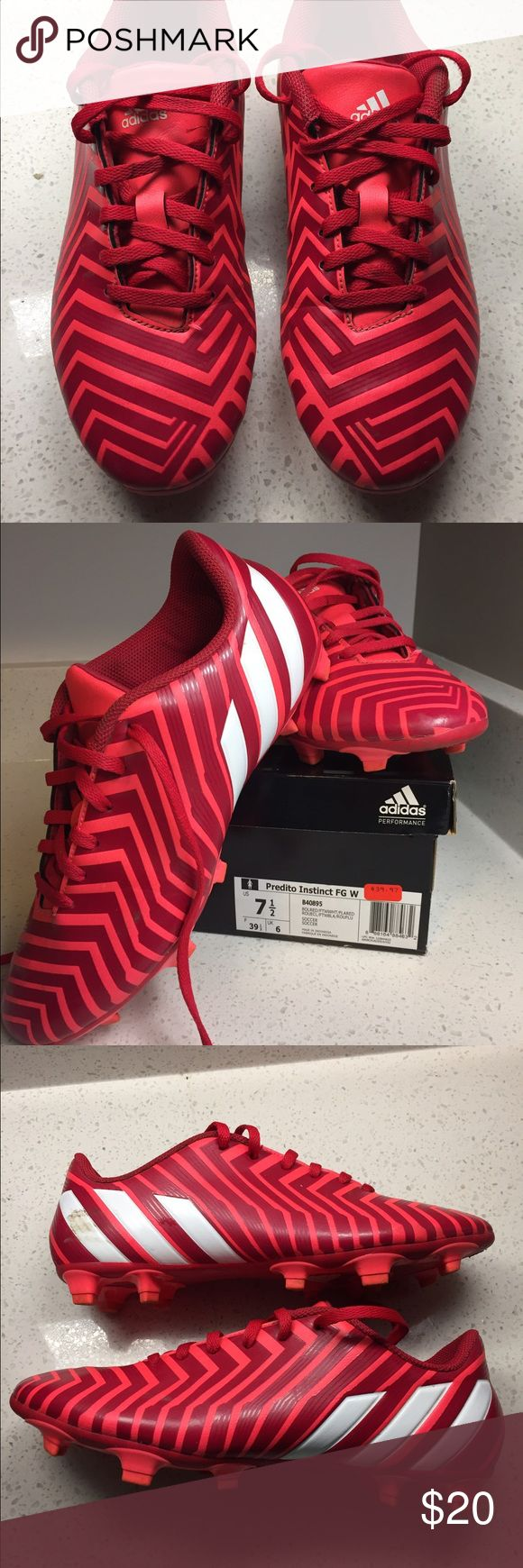 Hot Pink Adidas Cleats These women's Adidas Predito Instinct cleats are pre-owned but it great condition! There are minor scuffs on the outside (shown in photos) and minor wear inside. They are a 7.5 but the shoe is known to run small so they fit more like a 6.5/7. Adidas Shoes Athletic Shoes