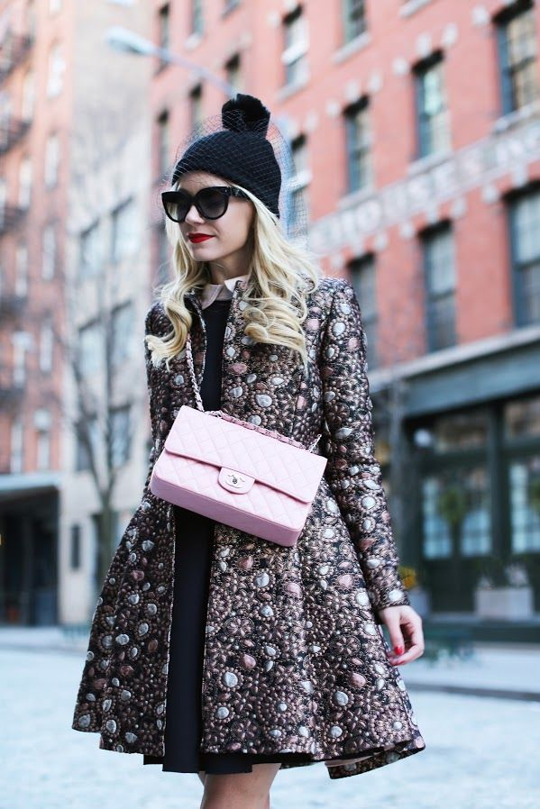 Jacket: Alice and Olivia (sold out, but jacquard skirt here). Shoes: RL (old, similar). Hat. Sunglasses: Prada. Dress: Tibi (old, similar here and here). Sweater in Black/White here (bought these matc