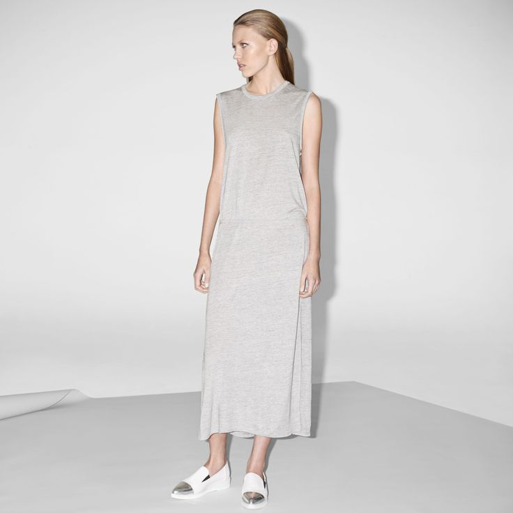 FWSS Now I Understand is a long jersey dress in soft viscose with slits in the side seams, draping pleats at the centre back and a removable belt.  http://fallwinterspringsummer.com/