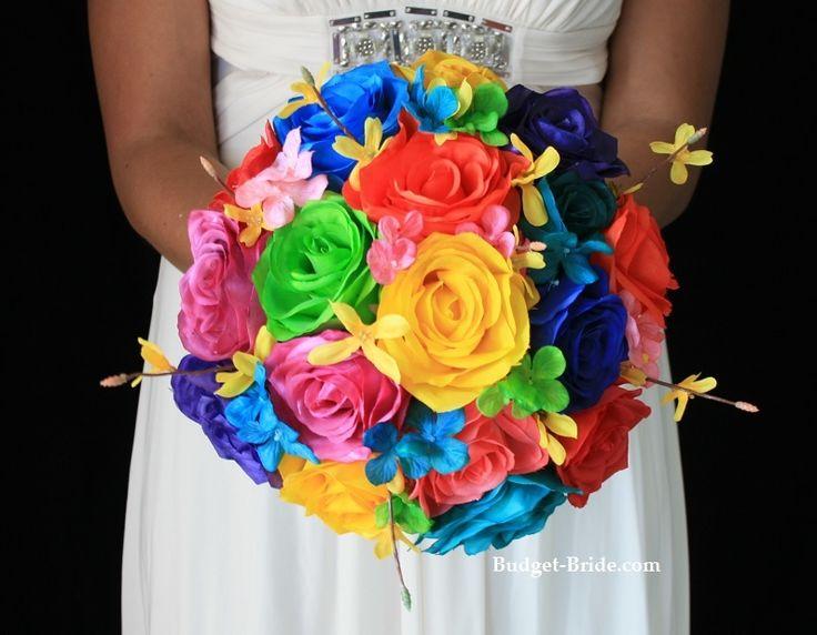 Rainbow bright wedding flower bouquet blue wedding for Bright wedding bouquet