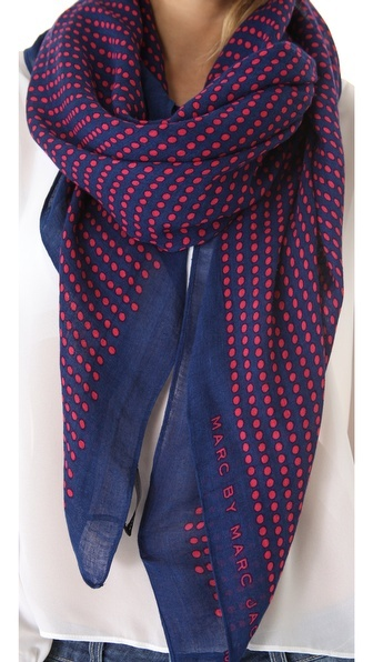Marc by Marc Jacobs | Woven Isabella Dot Scarf in fiery fuchsia multi