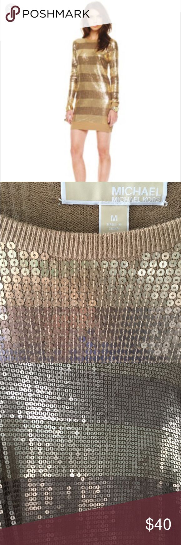 MICHAEL Michael Kors Gold Sequin Sweater Dress I LOVE this dress, but it's just a bit long on me. Wore it once. Camel and gold color. Sequins in perfect shape and well sewn. MICHAEL Michael Kors Dresses Long Sleeve