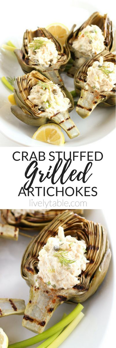Crab Stuffed Grilled Artichokes make the most delicious spring appetizer or light summer dinner. Fresh artichokes stuffed with a light and easy crab salad that is perfect for dipping! Via livelytable.com