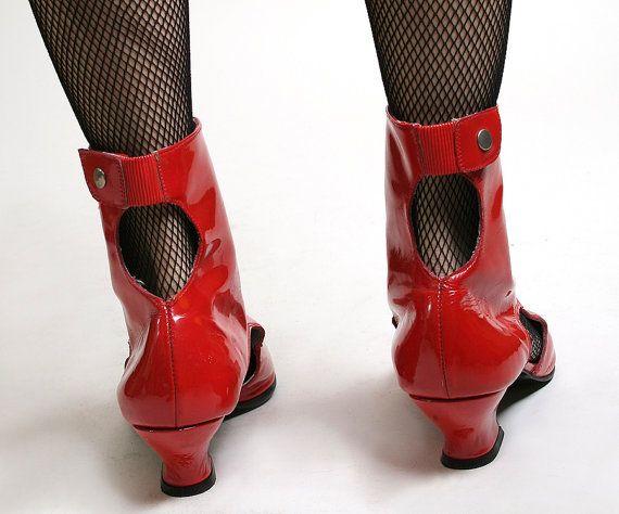 Vintage Cut Out Boots Lipstick Red Badass Rocker Boots