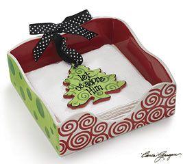 Christmas Ceramic Napkin Holder with Tree Shaped Weight