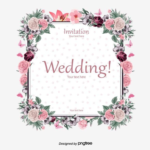 Elegant Floral Border Wedding Invitation Card Vector Material