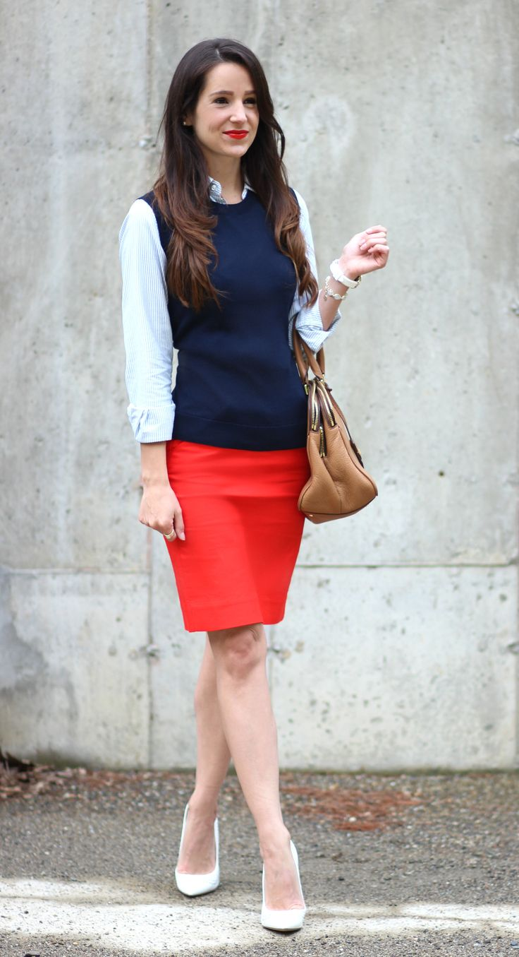 Love this preppy look! Navy sweater vest with classic Ralph Lauren oxford shirt and a red pencil skirt. A fabulous work outfit idea for anyone looking for a more sophisticated style.