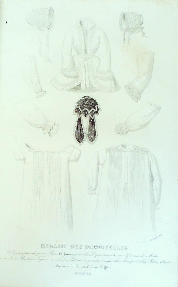 GRAVURE de MODE AUTHENTIQUE-C 38-MAGASIN DEMOISELLES-LINGERIE-1843