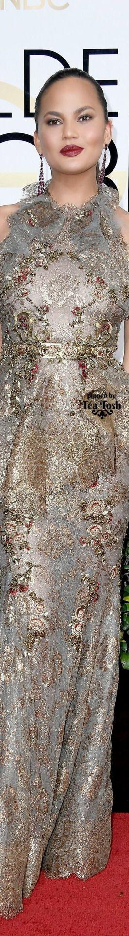 ❇Téa Tosh❇ Chrissy Teigen, wearing a Marchesa dress with Stuart Weitzman shoes and Lorraine Schwartz jewels.