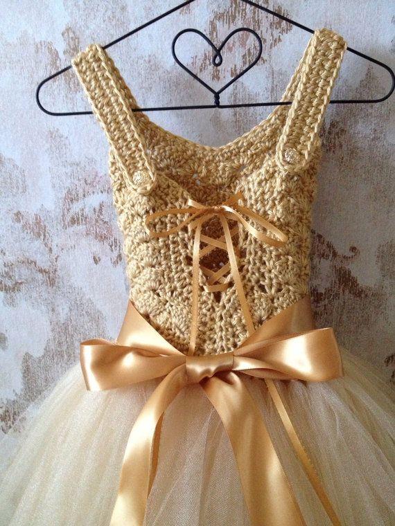 Gold flower girl tutu dress ankle length tutu dress Boho by Qt2t