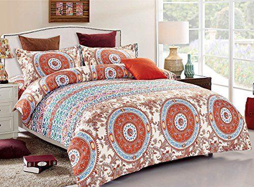 3 Piece Duvet Cover and Pillow Shams Set, Soft Microfiber Bohemian Design (California/Cal King Size)