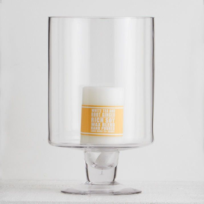 St Piere Hurricane Lamp Large - Beautiful blown glass in dramatic proportions brings elegance to the table or mantle.