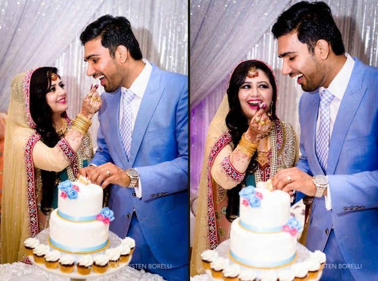 Bride and groom eating wedding cake at Pakistani Wedding (Kristen Borelli Photography, Pakistani Wedding, Vancouver Island Wedding Photography, Victoria Wedding Photography, Nanaimo Wedding Photography, Prince George Wedding Photography)