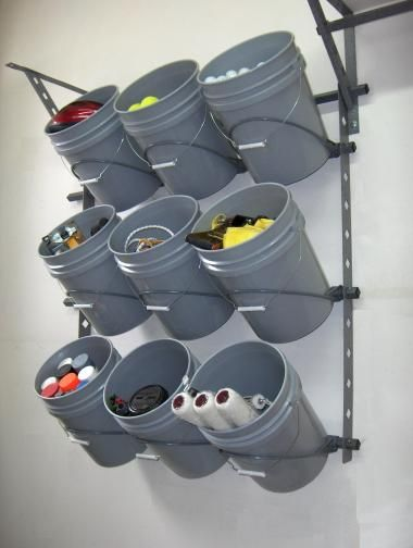 Nice storage idea for a frequently used section in the garage. Would be great for sports equipment.