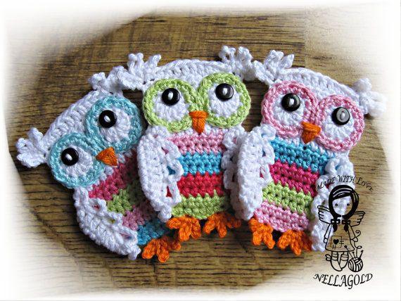 PATRÓN de crochet, apliques color buho, buho de apliques, DIY patrón 3