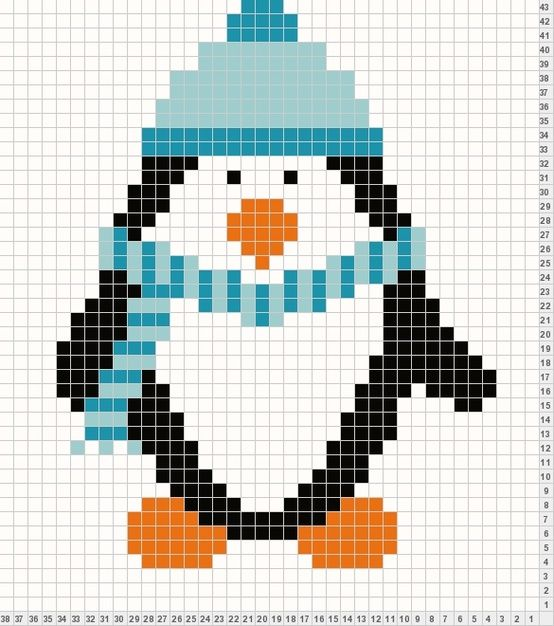 Penguin - Ready to knit or cross stitch.
