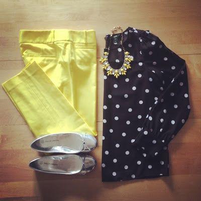 polka dot top + yellow pants or skirt | White Coat Wardrobe
