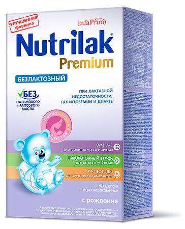 Nutrilak Premium Безлактозный (c рождения)  — 532р. ------------ Безлактозная смесь с ПолноЦельным СОСТАВОМ - смесь улучшенным жировым составом без пальмового и рапсового масла, с натуральным молочным жиром и важными нутриентами для полноценного развития малыша, не содержит лактозу.  Показания к применению:Лактазная недостаточность Галактоземия Диарея  Nutrilak Premium – все самое важное, как в грудном молоке!• Натуральный молочный жир, как и грудное молоко, содержит необходимые компоненты…